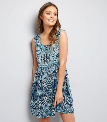 Brave Soul Blue Abstract Print Dress