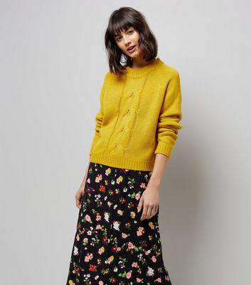 Noisy May Yellow Cable Knit Jumper