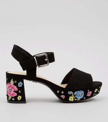 Teens Black Suedette Floral Embroidered Platform Heels