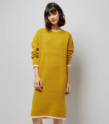 Noisy May Yellow Contrast Trim Midi Jumper Dress