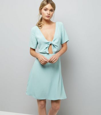 Mint Green Tie Front Skater Dress