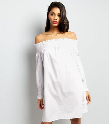 White Shirred Bardot Neck Dress