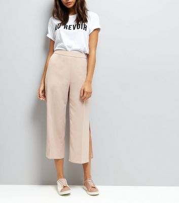 Shell Pink Split Side Cropped Trousers