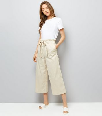 Stone Tie Waist Cropped Trousers