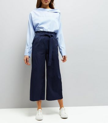 Navy Tie Waist Cropped Trousers
