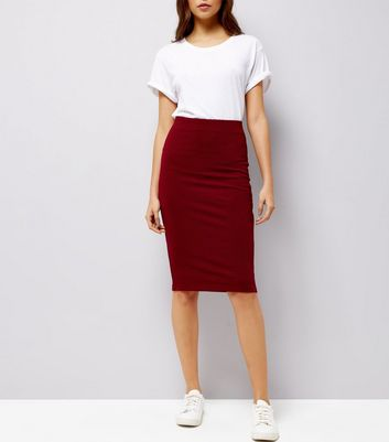 Burgundy Textured Pencil Skirt