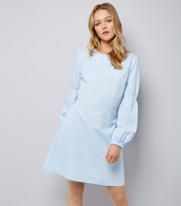 Pale Blue Balloon Sleeve Dress