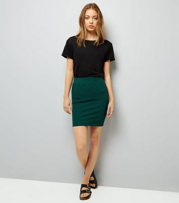 Dark Green Textured Mini Tube Skirt