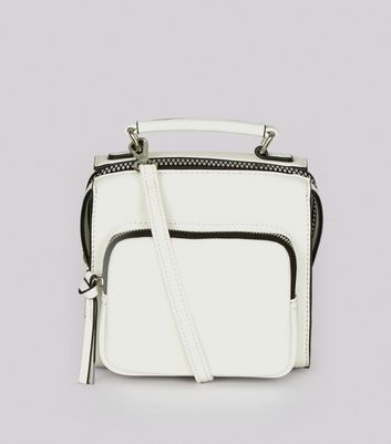 White Chunky Zip Pocket Cross Body Bag