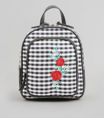 Black Gingham Floral Embroidered Badge Backpack