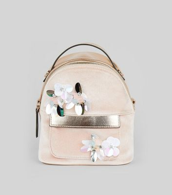 Pink Velvet Embellished Flower Mini Backpack