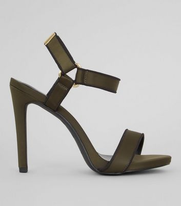Khaki Satin Velcro Strap Heeled Sandals