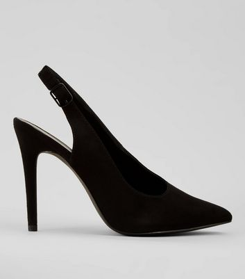 Black Suedette Pointed Sling Back Heels
