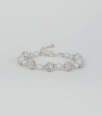 Silver Diamante and Pearl Bead Bracelet
