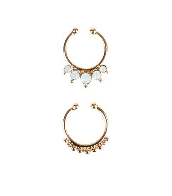 2 Pack Gold Opal Faux Septum Rings