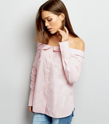 Shell Pink Bardot Neck Long Sleeve Top