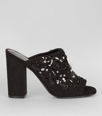 Black Suedette Embellished Block Heeled Mules