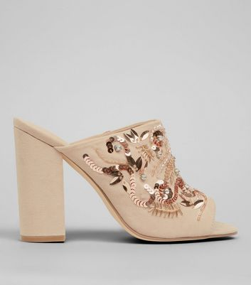 Nude Embellished Block Heeled Mules