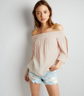 Shell Pink Tie Sleeve Bardot Neck Top