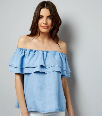 Blue Layered Frill Trim Bardot Neck Top