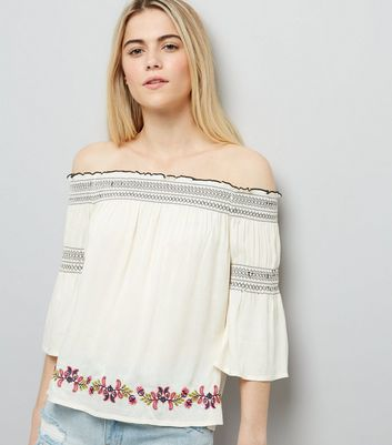 Cream Embroidered Bardot Neck Top