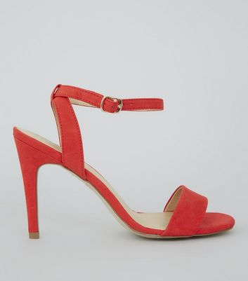 Red Suedette Ankle Strap Heels