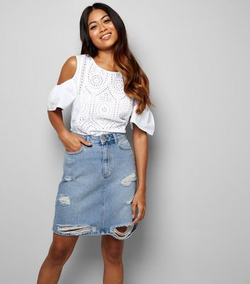 Petite Pale Blue Denim Ripped Fray Hem Mini Skirt