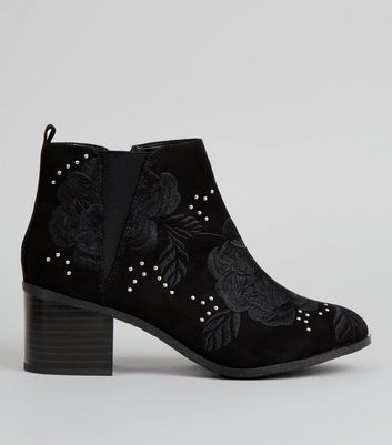 Wide Fit Black Stud Embroidered Boots