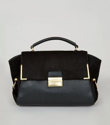 Black Suedette Panel Satchel