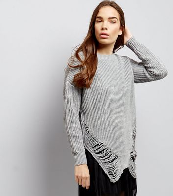 Cameo Rose Pale Grey Ladder Hem Long Sleeve Jumper