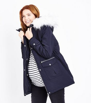 Maternity Navy Faux Fur Trim Hooded Parka