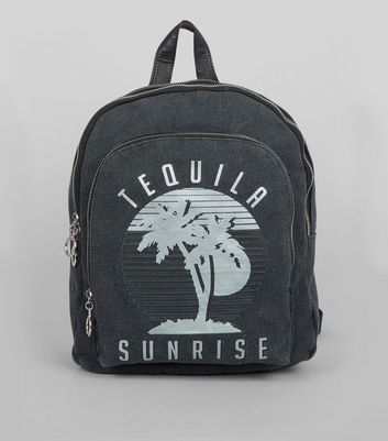 Grey Tequila Sunrise Printed Canvas Backpack