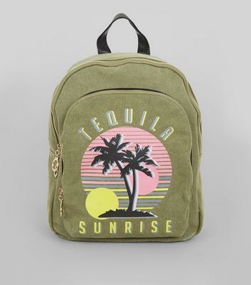 Khaki Tequila Sunrise Printed Canvas Backpack