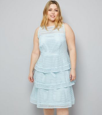Curves Pale Blue Premium Tiered Lace Dress