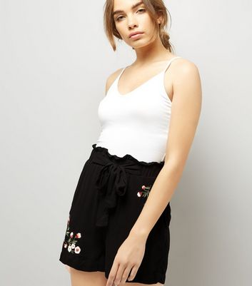 Tall Black Floral Embroidered Shorts