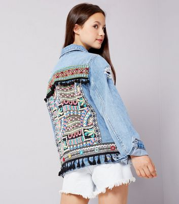 Teens Blue Aztec Embroidered Denim Jacket
