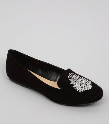 Black Suedette Metallic Embroidered Tab Slippers
