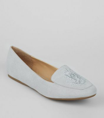 Grey Suedette Crest Embroidered Loafers