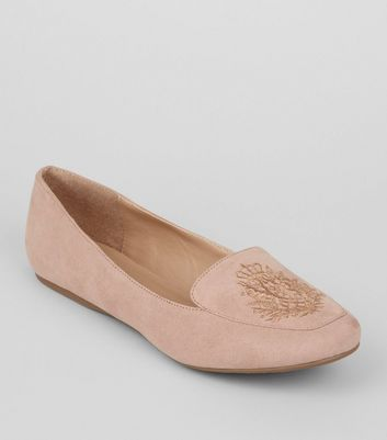 Pink Suedette Crest Embroidered Loafers