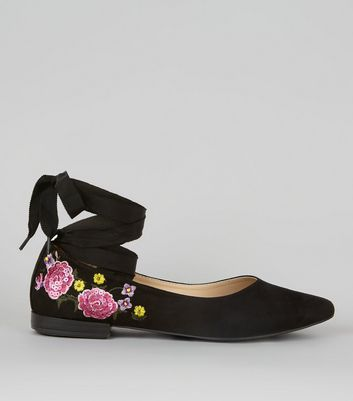Black Suedette Floral Print Tie Up Ballet Pumps