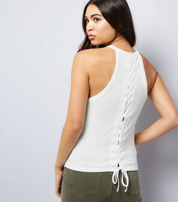 Cream Lace Back Vest