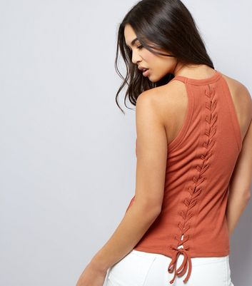 Brown Lace Back Vest