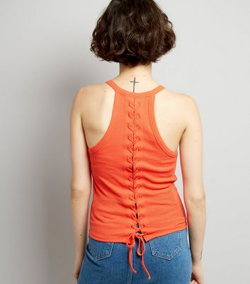 Orange Lace Back Vest