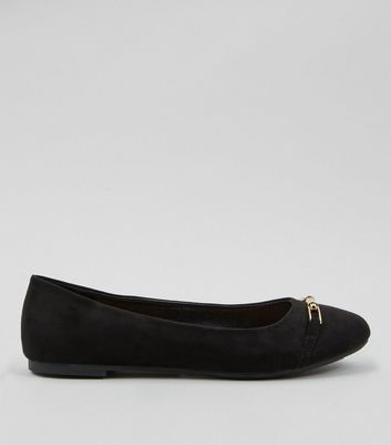 Black Suedette Metal Trim Ballet Pumps