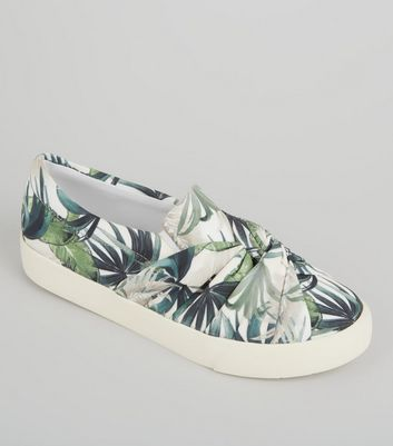 Cream Palm Print Knot Front Canvas Plimsolls