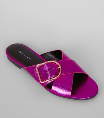 Purple Metallic Cross Buckle Strap Mules