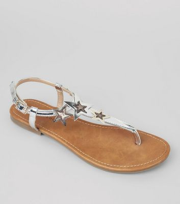 Silver Metallic Star Detail Toe Post Sandals