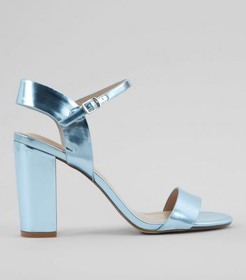 Blue Metallic Block Heel Sandals