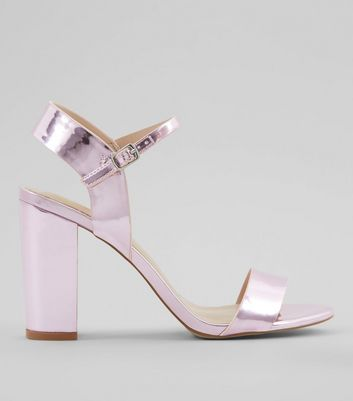 Pink Metallic Block Heel Sandals