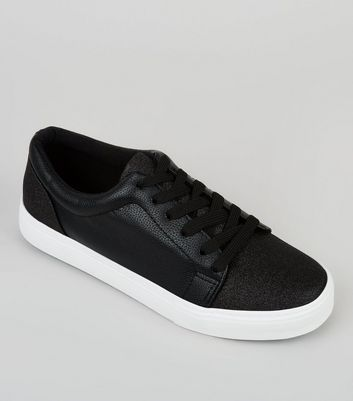 Black Glitter Contrast Sole Trainers